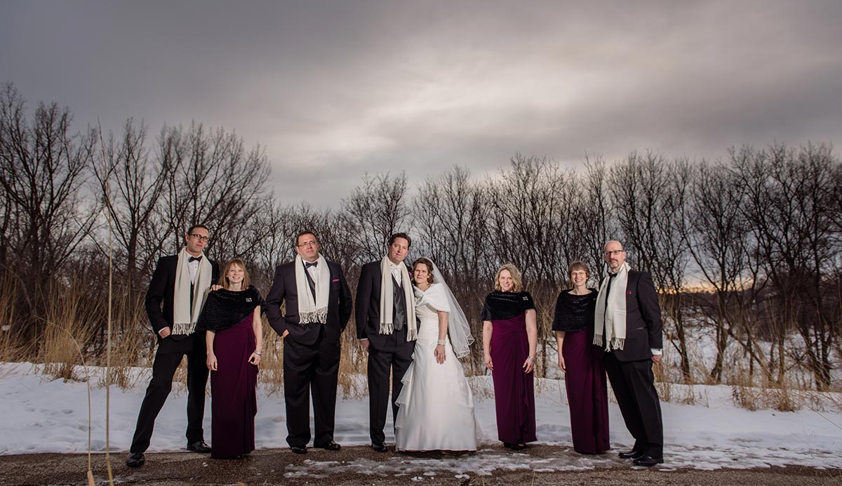 flash composite wedding party maple grove minnesota winter wedding