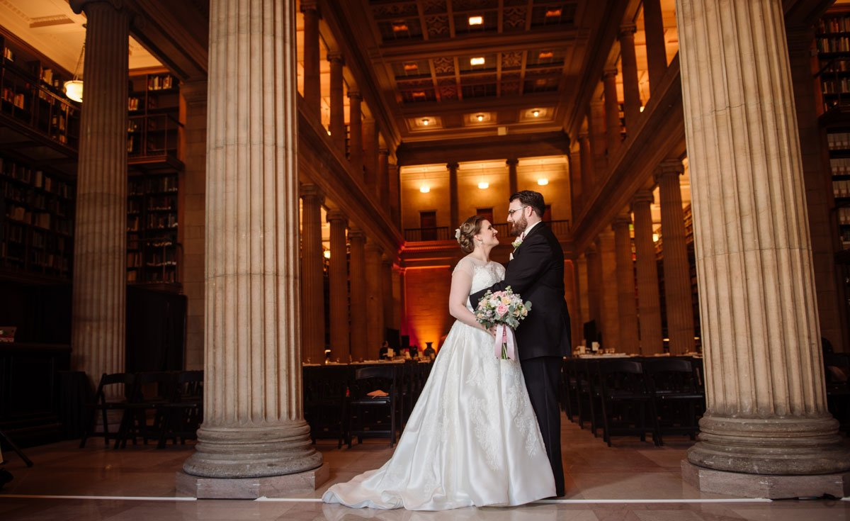 bride and groom jj hill library wedding st paul photographer