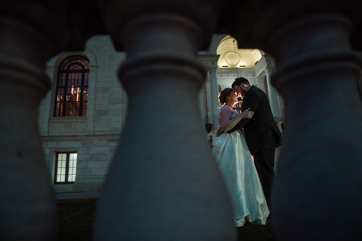 dramatic night portrait jj hill library wedding st paul photographer