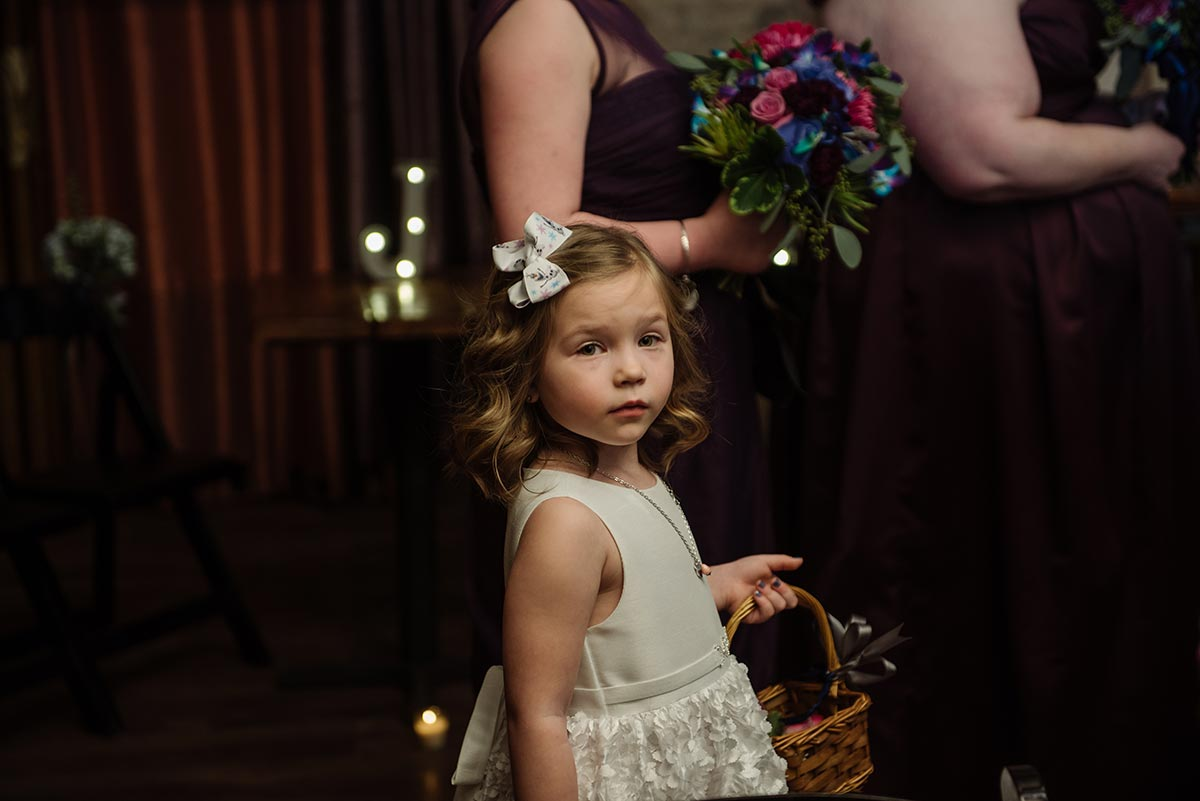 flower girl Minneapolis winter Aster Cafe Small Wedding