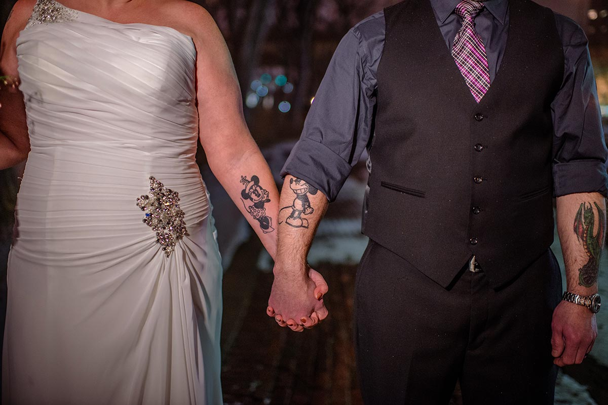 bride and groom and tatoos Minneapolis winter Aster Cafe Small Wedding