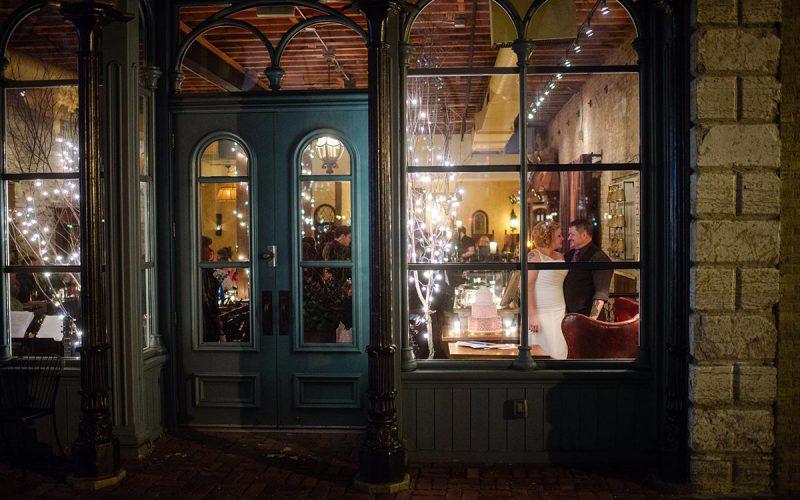through the glass Minneapolis winter Aster Cafe Small Wedding