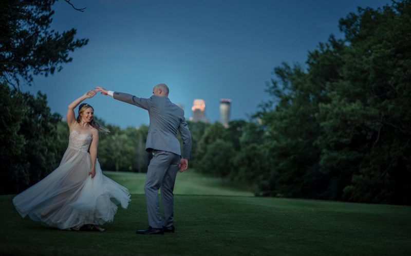 skyline at night Outdoor Minneapolis Wedding