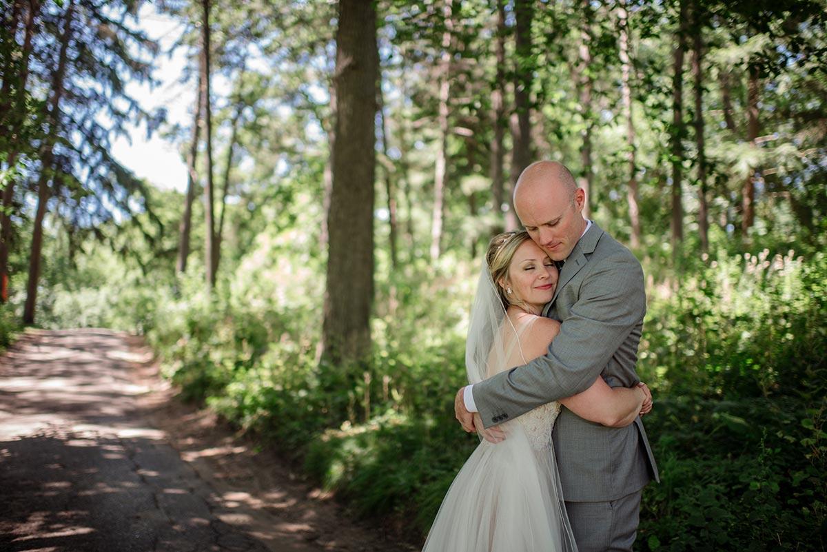 bride and groom cute Outdoor Minneapolis Wedding