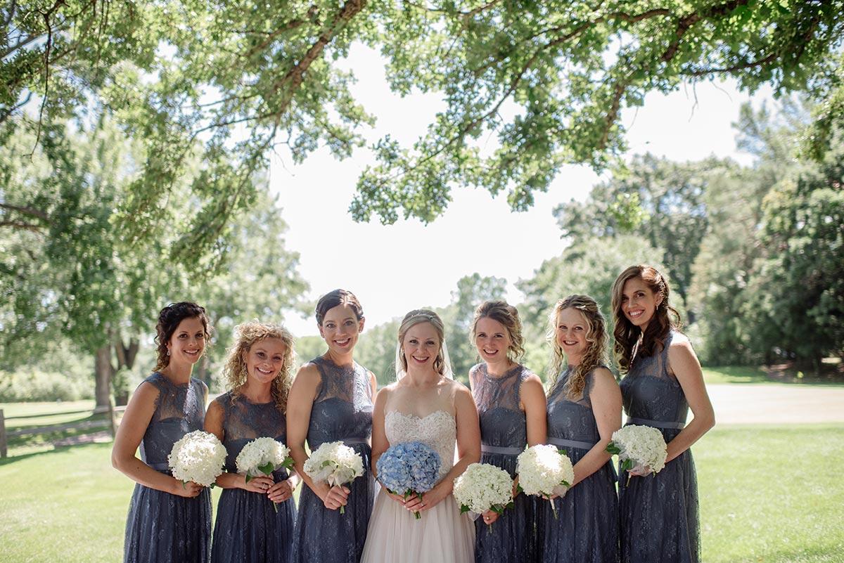 bride and 6 bridesmaids Outdoor Minneapolis Wedding