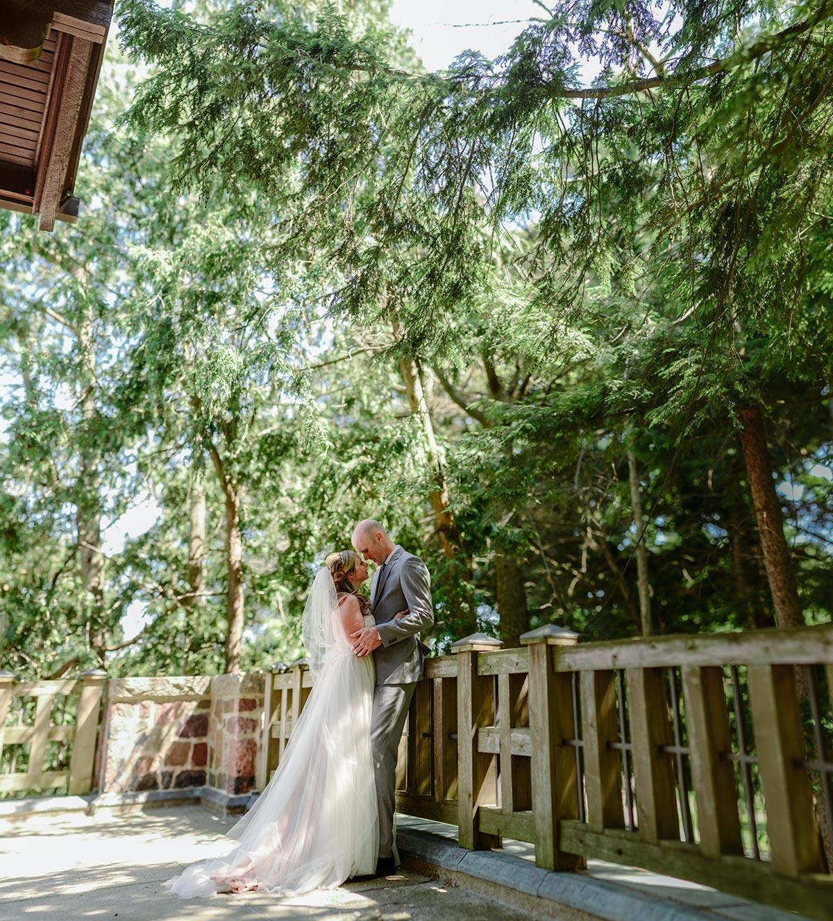 panorama of bride and groom Outdoor Minneapolis Wedding