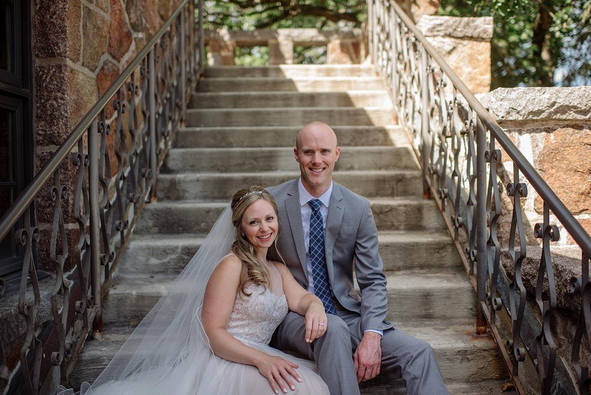 on stairs Outdoor Minneapolis Wedding