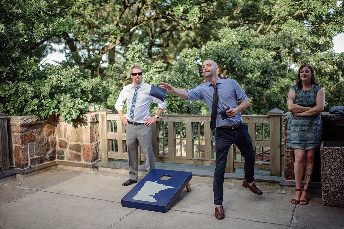 corn hole bag toss Outdoor Minneapolis Wedding