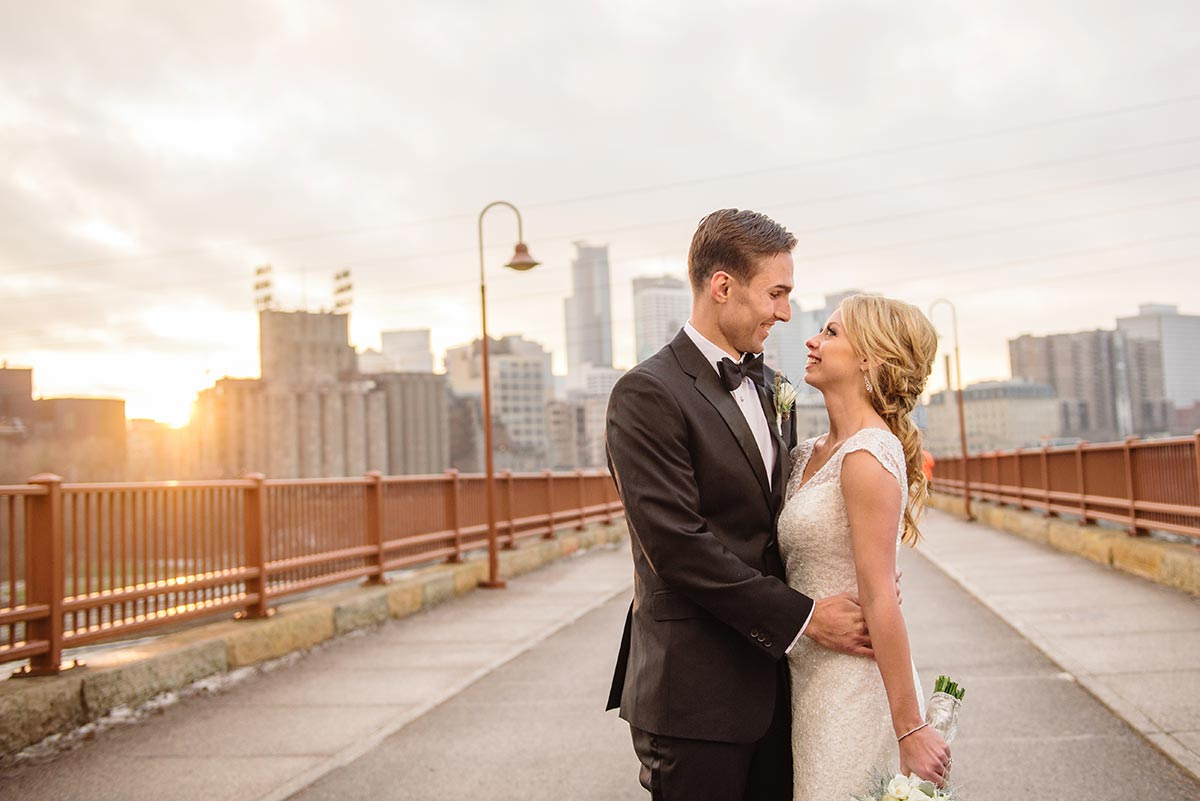 best minneapolis wedding photographer stone arch bridge wide