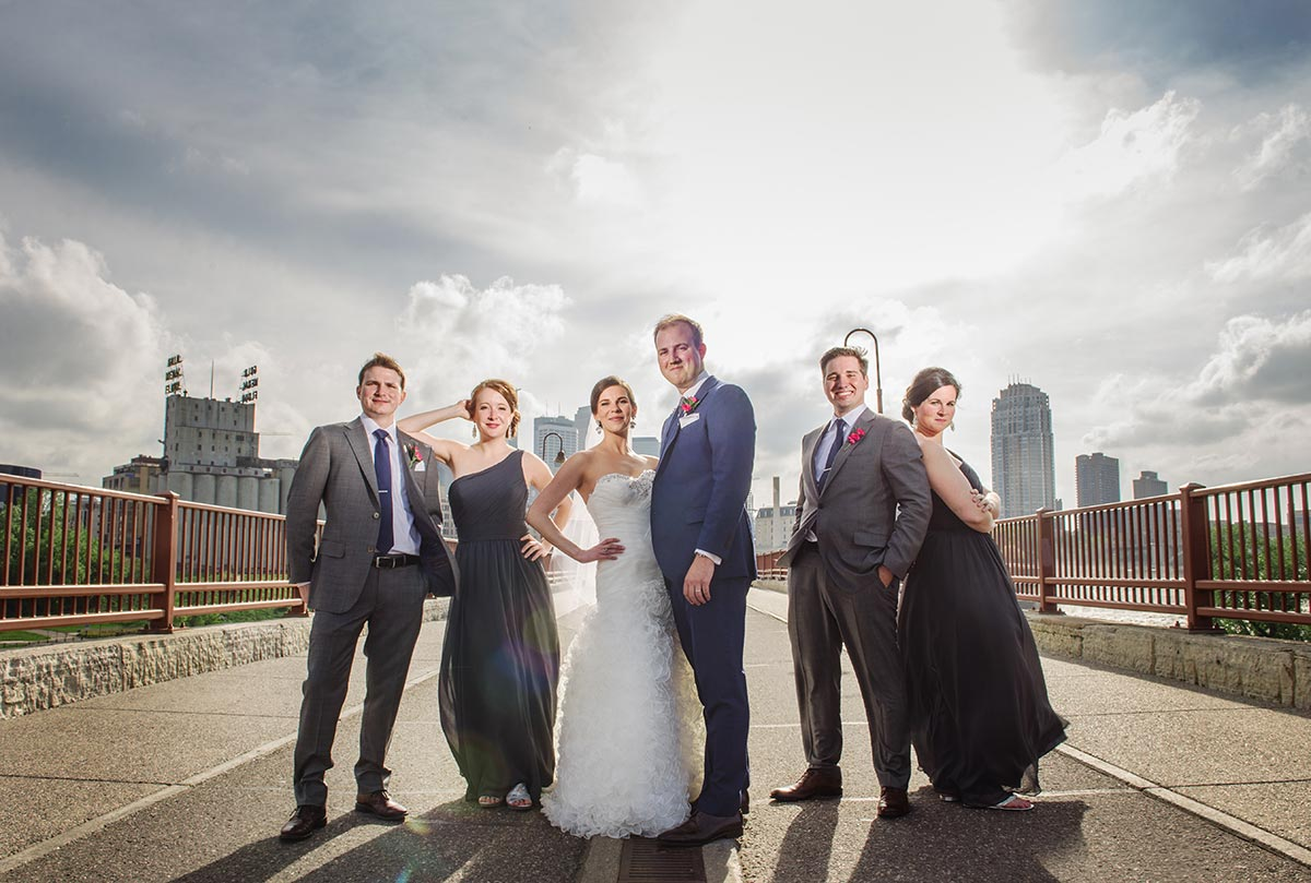 best minneapolis wedding photographer stone arch bridge flash composite