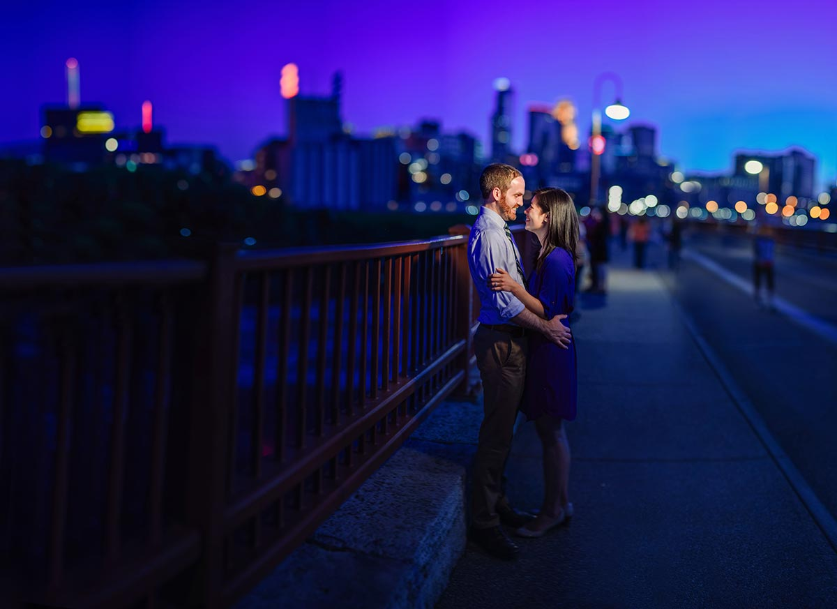 best minneapolis wedding photographer stone arch bridge night panorama