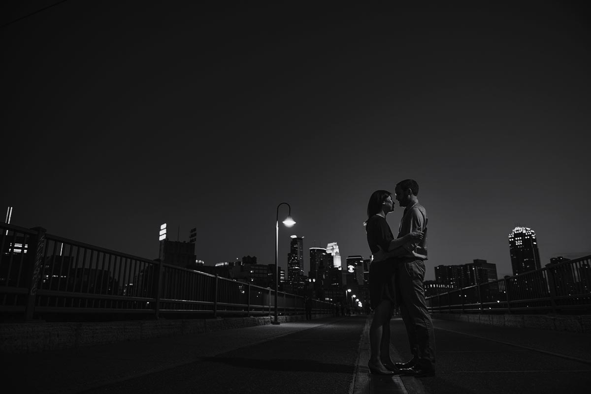 best minneapolis wedding photographer stone arch bridge silhouette