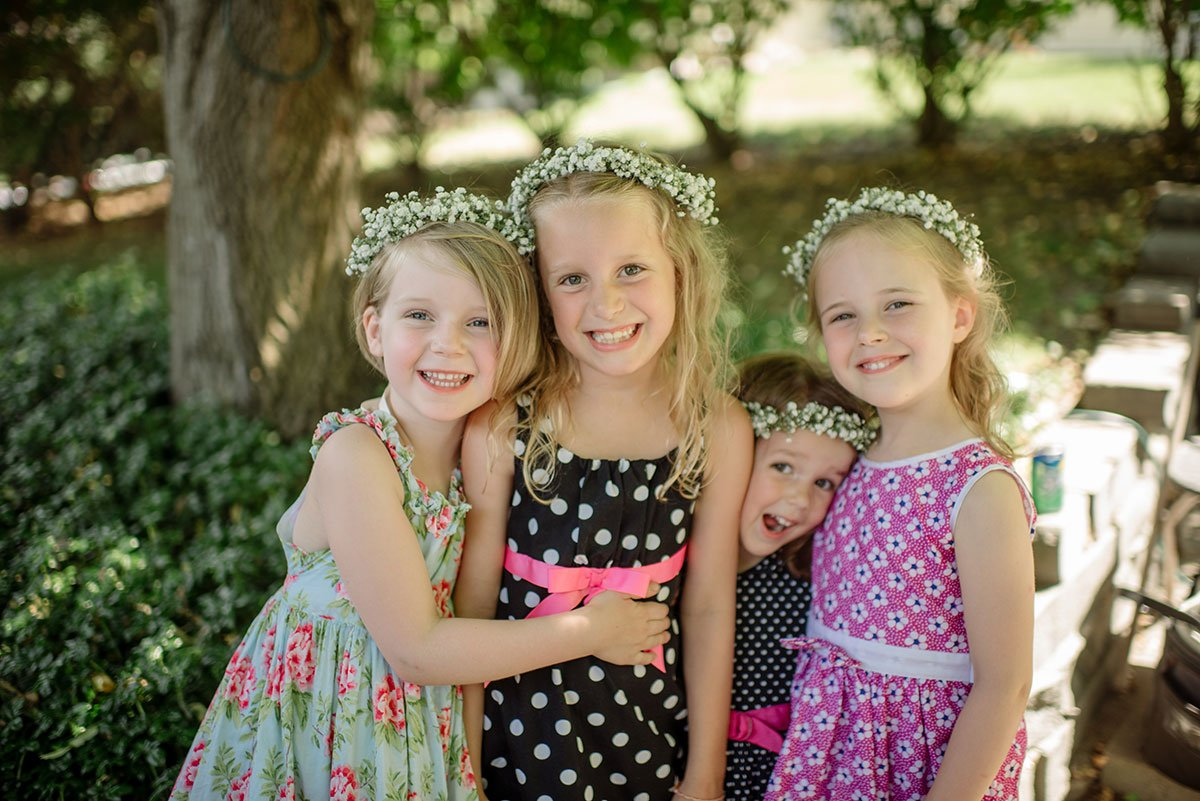 adorable flowergirls minnesota backyard wedding