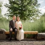 Carleton College Wedding - bride and groom with prairie