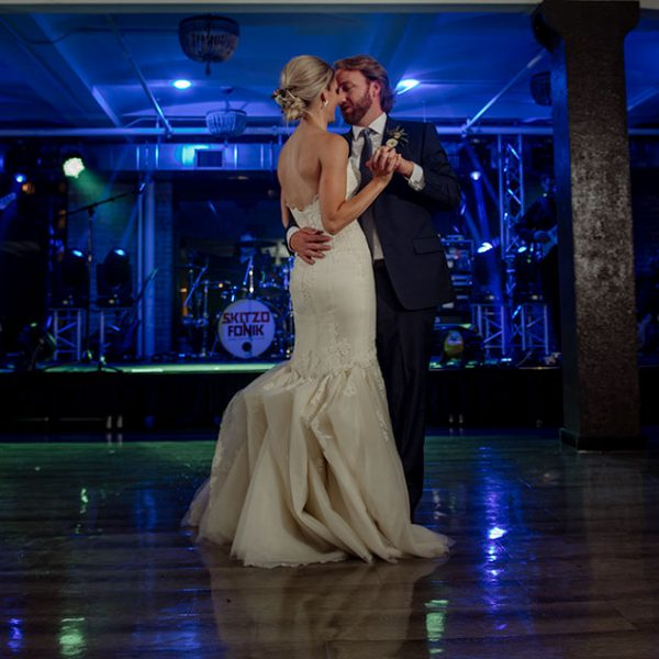 first dance for wedding couple at lumber exchange building Minneapolis MN
