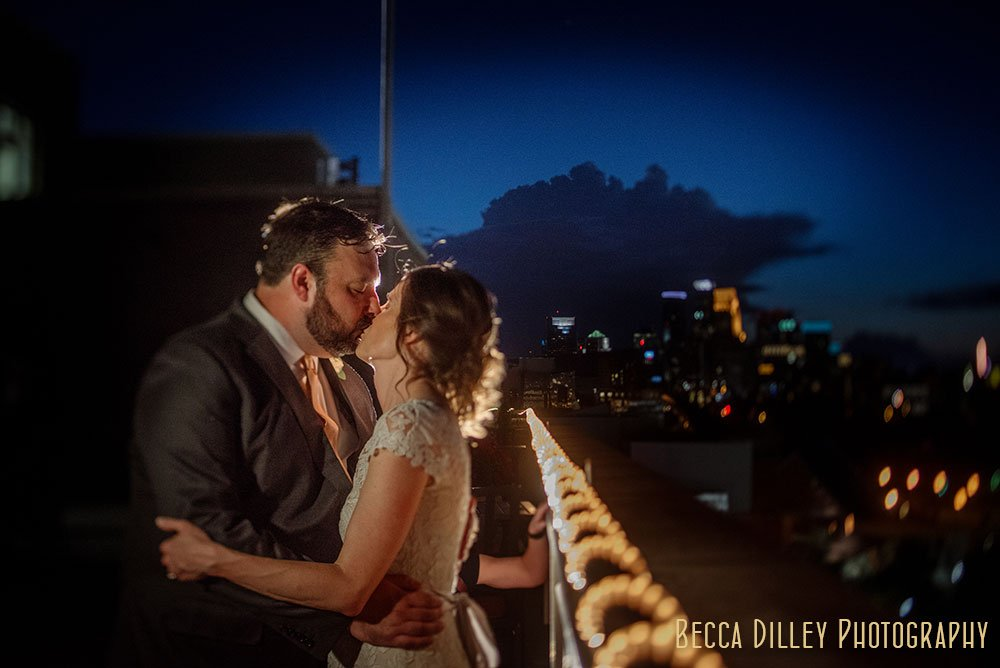 couple at night Minneapolis Campus Club Wedding