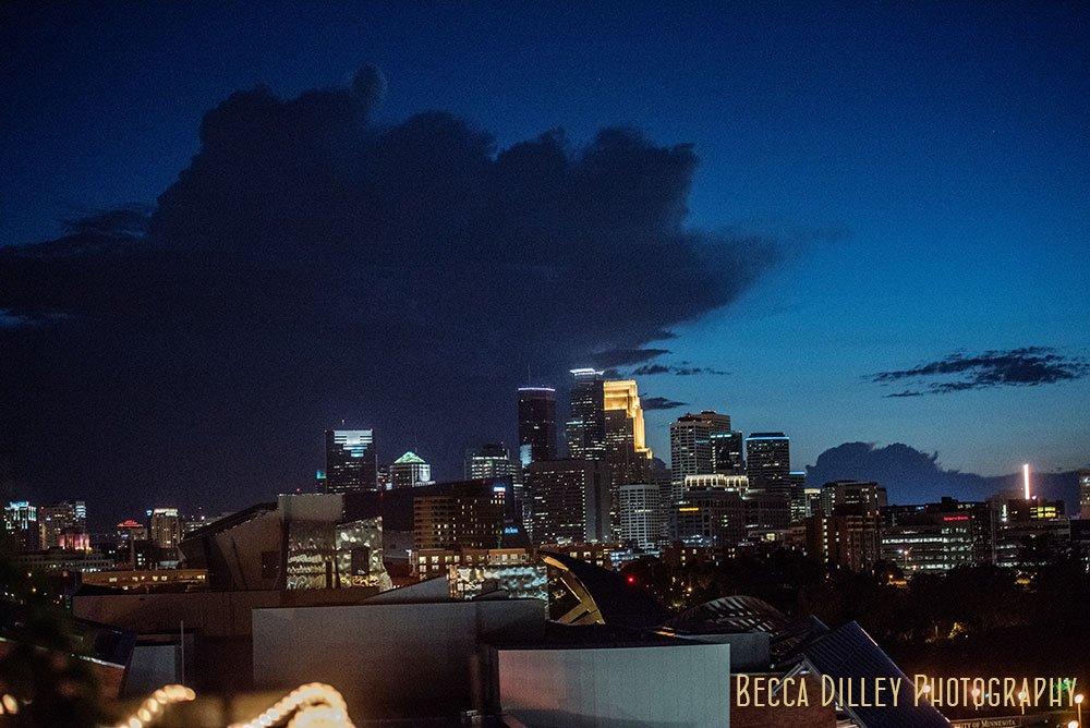 skyline at night Minneapolis Campus Club Wedding