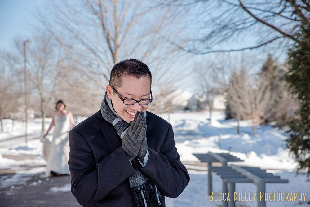 first look Rush Creek Golf Club Winter Wedding MN