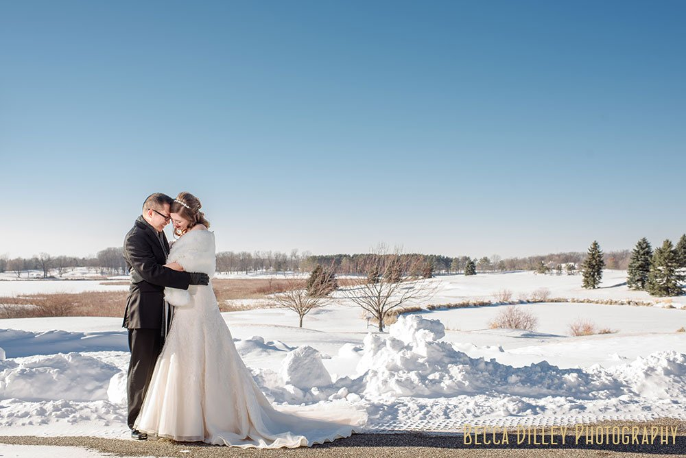 landscape with snow Rush Creek Golf Club Winter Wedding MN