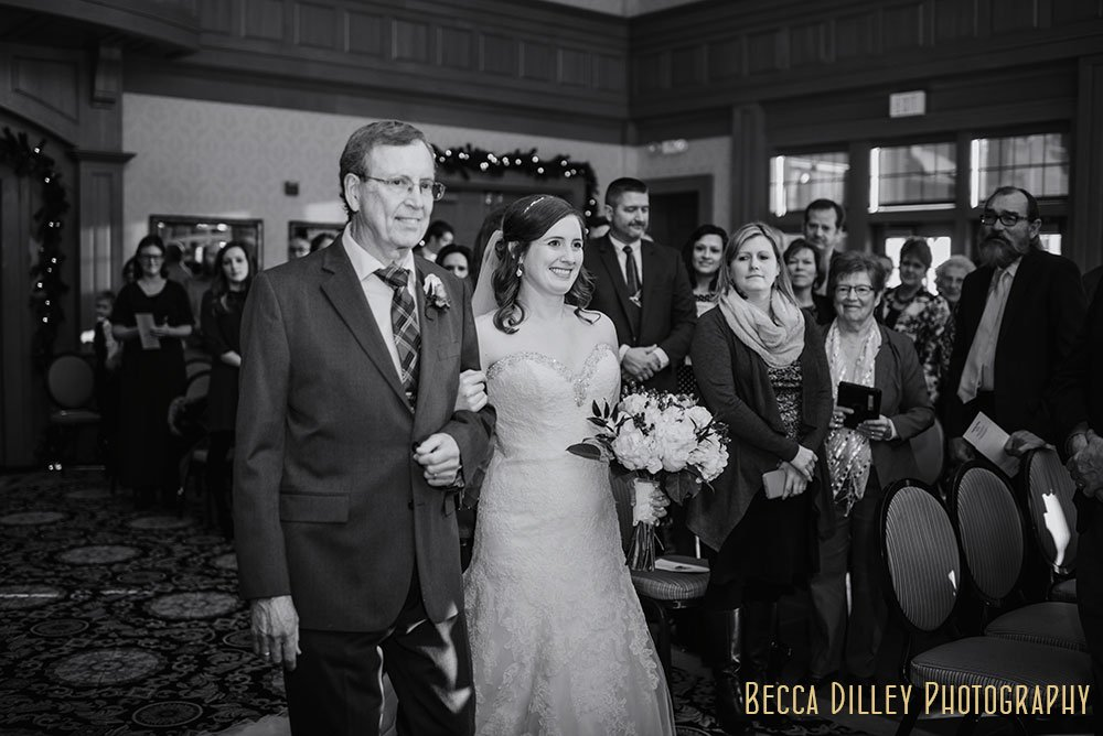 bride and father Rush Creek Golf Club Winter Wedding MN
