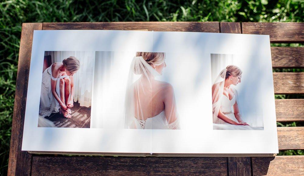 Tan Leather flush mount wedding album