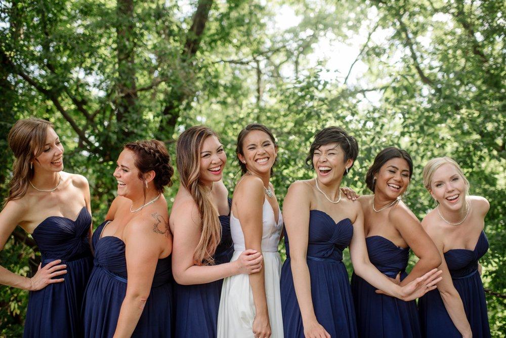 2017 favorite photos best Minneapolis photographer casual bridesmaids in blue