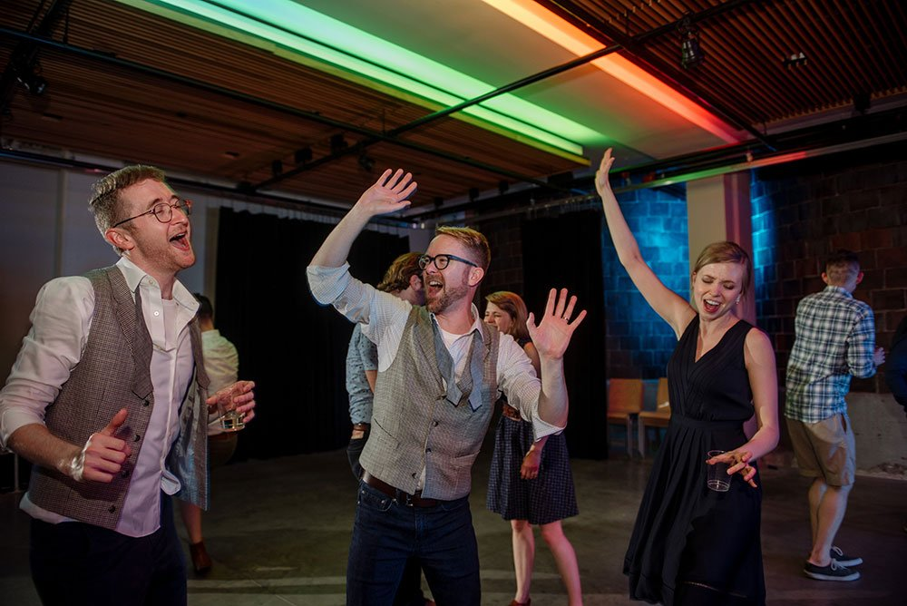 two grooms dance party reception