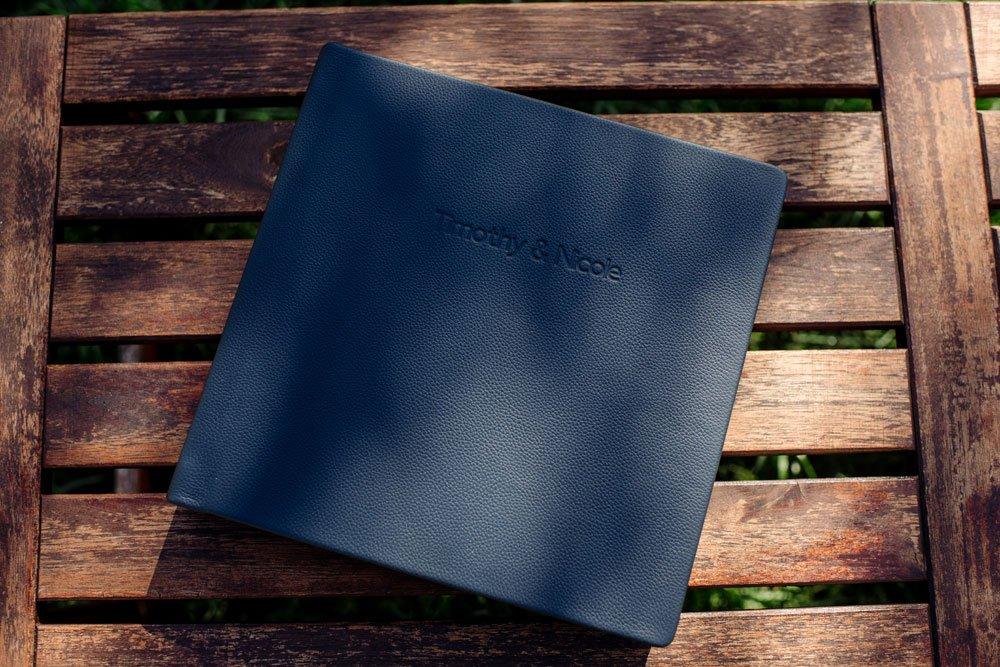 flush mount wedding album navy leather
