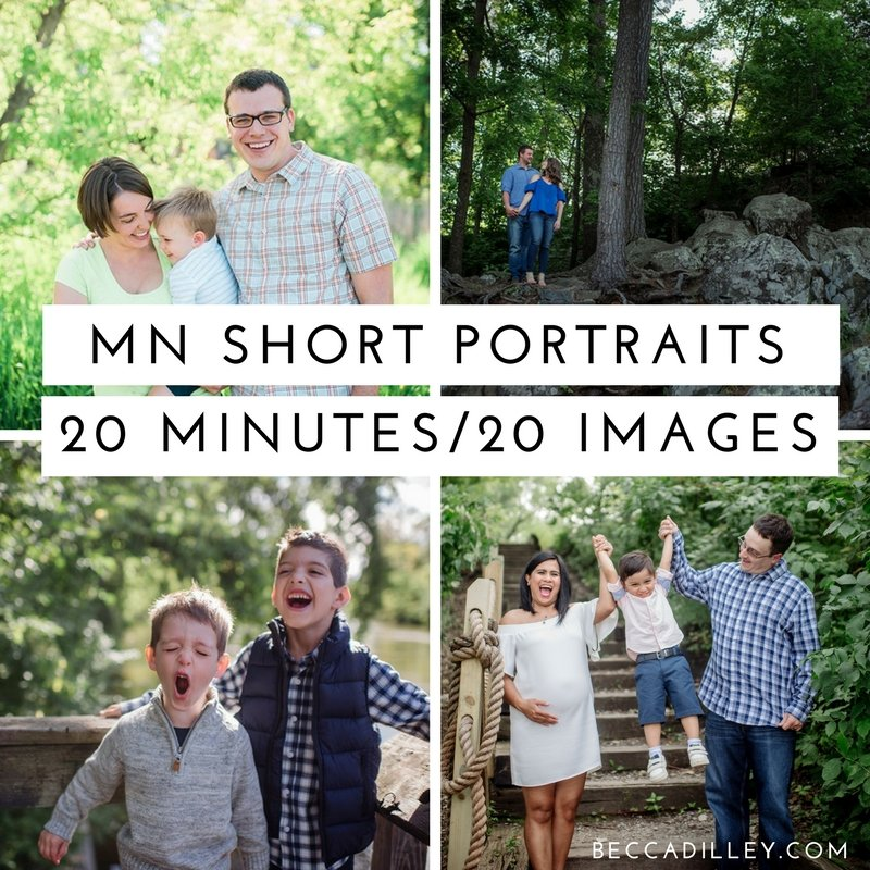Booking information for SHORT portrait sessions in MN for spring 2018
