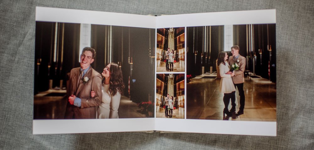 layflat wedding album cream linen