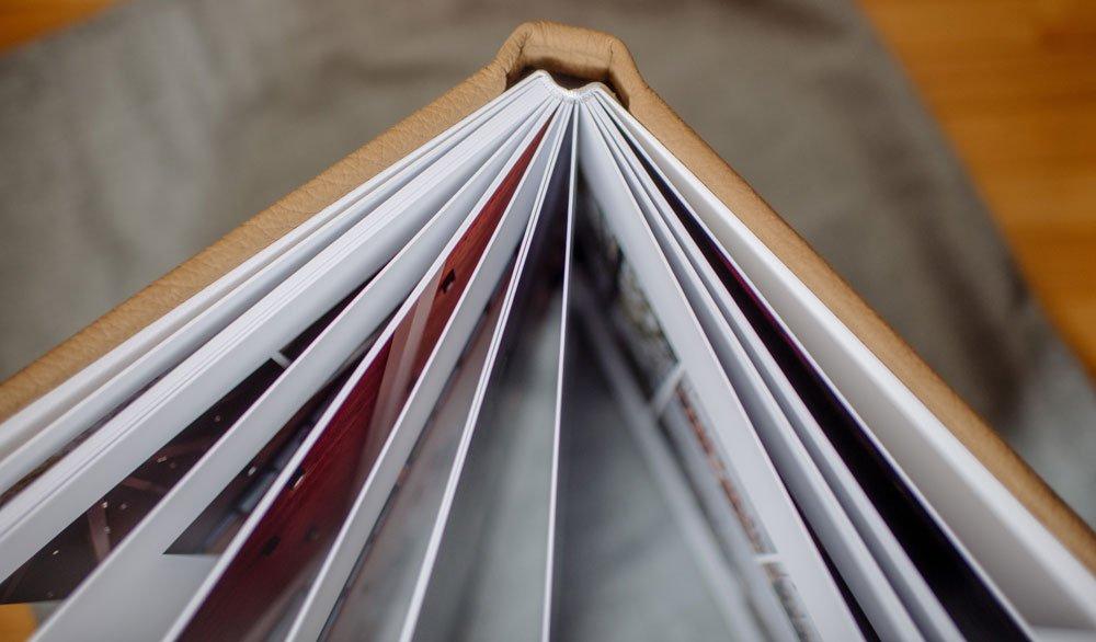 tan leather wedding album lay flat flush mount