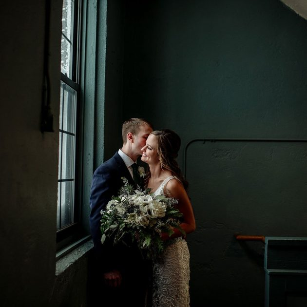 quiet moment for bride and groom