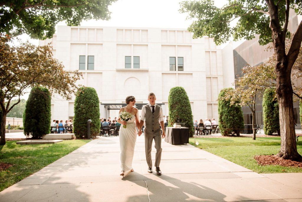 bride and groom exit ceremony at Minneapolis Institute of Art