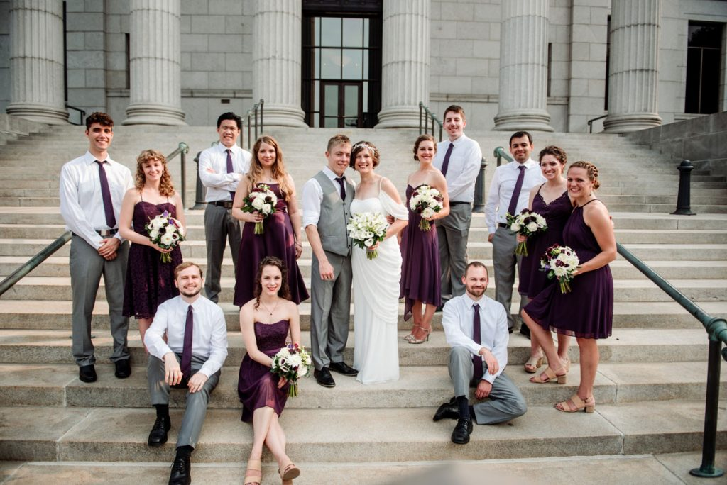 wedding party on stairs of Minneapolis Institute of Art