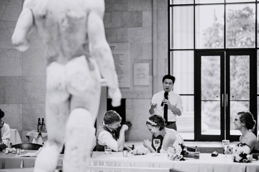 toasts with statue at Minneapolis Institute of Art