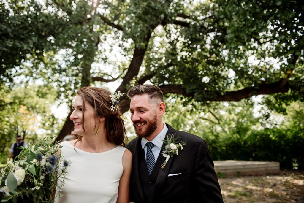 happy couple at minneapolis parks wedding in northeast minneapolis