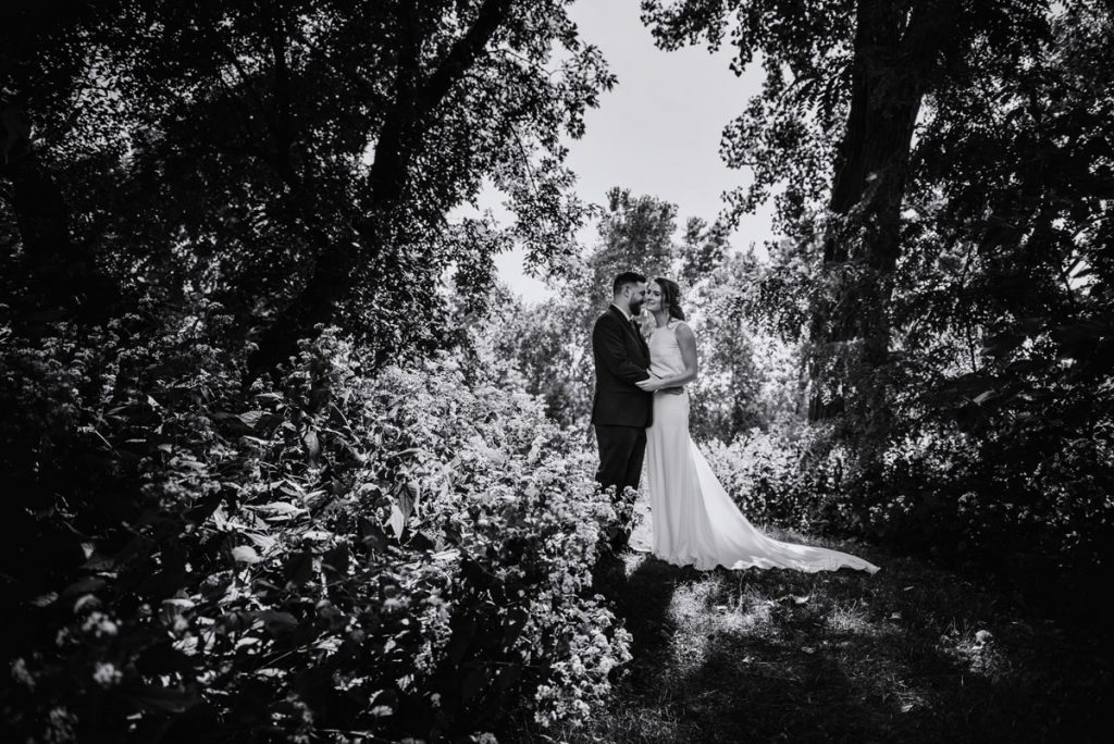 summer minneapolis parks wedding couple in woods with light streaming behind trees